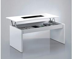 Fashion Home Habitdesign 0T1638BO - Mesa de Centro elevable, Acabado Blanco Brillo y Cristal Negro, Dimensiones 100 x 50 x 43/52 cm Altura