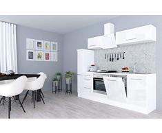 respekta Cocina Pequeña Cocina Bloque de Cocina Cocina Amueblada y Equipada Alto Brillo 250cm Blanco - Blanco, 220 cm