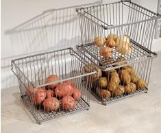 mDesign Canasto para almacenamiento en la cocina, la alacena o el gabinete - Plata