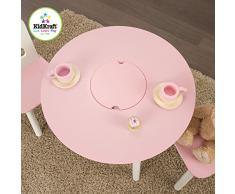 KidKraft 26165 - Juego de mesa redonda con dos sillas, color blanco y rosa