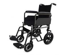 Silla de ruedas de acero, plegable, con reposapiés y reposabrazos extraíbles asiento 46 cm