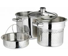 Kitchen Craft Italian Collection - Olla para Pasta en Acero Inoxidable (con Accesorio para Cocina al Vapor, 20 cm)