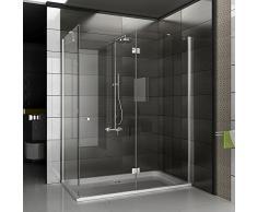 Cabina de ducha/cristal real ducha de esquina/cabina de ducha con/cabina de ducha Antikalk de alrededor de 140 x 80 x 195 cm/claro el vidrio de seguridad // altura de la ducha de alrededor de 195 cm/cabina de ducha