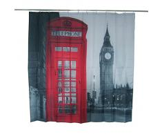 Gosear-Cortina de ducha de poliéster impermeable baño,Patrón de Ben Londres noche calle la cabina telefónica roja y gran