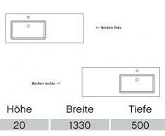 Pelipal Solitaire 6010 Mineral mármol de lavabo/mmwt 54 - 1330 de l/r/blanco/133 x 2 x 50 cm