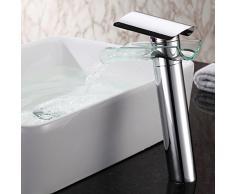 'Monobloc Cristal lavabo grifos alta grifo con efecto de cascada monomando grifo grifo para baño baño accesorio de lavabo (latón, cromo, Estándar Conector 3/8,27.5 cm