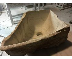 LAVABO MODELO YUKI. Lavabo de piedra color crema amarillento.Medidas 40x27x18 cm. Exterior natural.interior pulido.Entrega a pie de calle.