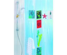 Spirella 10.39048 Postcard - Cortina de ducha de plástico (180 x 200 cm, 20 bolsillos de almacenamiento), color transparente