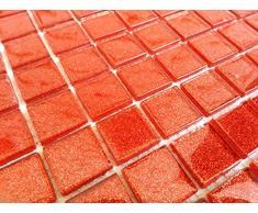 Transparente cristal mosaico azulejos Matte en naranja/rojo oscuro con purpurina. Revestimiento para paredes (mt0017) Matte es 30 cm x 30 cm