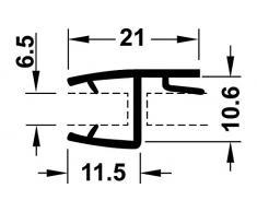 Puerta de cristal de sello ducha puerta GedoTec sello de la ducha para la ducha de cabina | Longitud 2000 mm | PVC translúcido | Para grosor del cristal 8 - 10 mm
