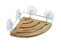 MSV 140609 - Estantería de ducha de ángulo, bambú y metal, con ventosas, color beige