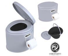 Camping de WC, cubo portátil, con asiento y tapa, inodoro compostador 7L