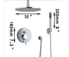 GOWE MiniSun 20,32 cm redonda de 3 alcachofa de ducha LED techo lluvia baño doble-ducha grifo Set, cromo