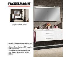 Fackelmann de muebles de baño Set B. Clever de 2 piezas 120 cm Color Blanco con lavabo armario con doble de fundido (mármol & LED Armario con espejo