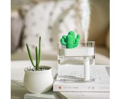 Purificador Humidificador Portátil Mini USB para el Hogar Humidificador de Cactus Transparente del Aire, Dormitorio, Baño, Yoga, Sauna y Oficina (Blanco)