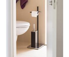 Relaxdays - Portarrollos con escobillero, 73 x 21.5 x 27.5 cm, Acero Cromado, Cuarto de baño, 2.8 Kg, Color Negro