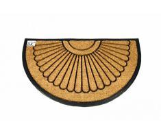 EHC - Felpudo semicircular (60 x 100 cm, tamaño XL, fibra de coco con goma antideslizante)
