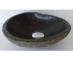 Lavabo en piedra natural, diametro 35 cm + 1 puerta jabón. Elección sobre fotos con dimensiones exactas