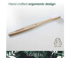 Cepillo de dientes de bambú (paquete de 4 unidades, respetuoso con el medio ambiente, de madera, 100% biodegradable, cerdas suaves, tamaño mediano, de plástico orgánico natural y sin BPA, bambú)