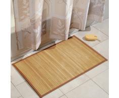 iDesign Alfombra antideslizante, alfombra de madera de bambú extralarga, alfombrilla de baño, cocina y pasillo repelente al agua, marrón claro