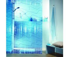 Spirella colección Pool, Cortina de Ducha Textil 180 x 200, 100% Polyester, Azul, PVC