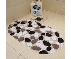 Pixnor Estera de la estera suave alfombra de PVC antideslizante, estera de baño alfombra, cuarto de baño ducha marrón + negro + blanco