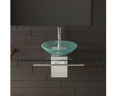 Satén limitada Cristal Lavado Cuenco 46 cm de diámetro con transparente cristal lavabo placa 32 cm y toallero Alpen Berger®