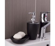 Pixnor 4 piezas de baño Set de accesorios - dispensador de jabón, jabón plato, sostenedor del cepillo de dientes, vaso (negro)
