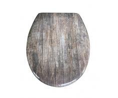 Eisl ED69OWood - Duroplástico asiento de inodoro con madera suave y rápido de cierre automático, viejo
