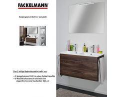 Fackelmann de muebles de baño Set B. Clever de 2 piezas 120 cm marrón con lavabo armario con doble de fundido (mármol & espejo Element