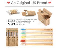 BAMBOOGALOO Cepillos de dientes orgánicos de bambú | Paquete de 5 | Regalo de bastoncillos de algodón de bambú y hilo dental GRATIS | Cepillo de dientes de madera natural premium | Cerdas medianas