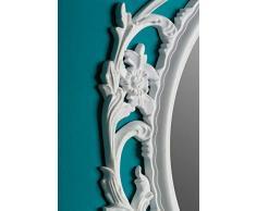 elbmöbel Espejo de Pared Barroco Espejo Ovalado Blanco 84 x 58 x 4 cm