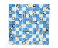 azulejos mosaico mosaico azulejos baño cocina Crystal caracola Azul cenefa nuevo # 450