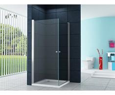 La entrada en curva Cabina de ducha Ducha Múnich 100 x 90 x 200 cm / 8 mm / con plato de ducha y sifón