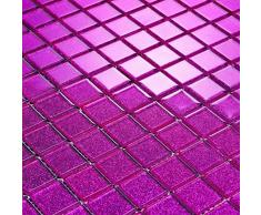 Transparente cristal mosaico azulejos Matte en rosa oscuro con purpurina. Revestimiento para paredes (MT0018 GTDE) Matte es 30 cm x 30 cm