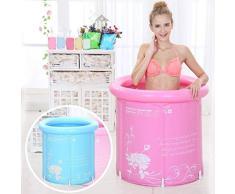 Tinksky adultos bañera plegable y portátil super-thick PVC inflable bañera de plástico cilíndrico con cojín (color rosa)