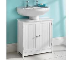 New Maine New England armario de madera maciza de almacenaje de debajo del lavabo (blanco)