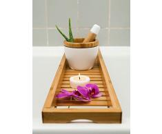 Bonito Bandeja de baño, Bañera, accesorio para bañera, Bañera de bambú 80 cm x 18 cm
