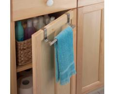 iDesign Barra toallero para puerta, pequeño toallero de baño y cocina de acero, colgador de paños de cocina para colocar en la puerta del armario, plateado mate
