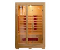 Sauna de infrarrojos 120 x 100 puertas de cristal con estructura de madera, dos personas