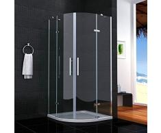 Cabina de ducha semicircular mamparas de baño 6mm cristal templado 90x90cm