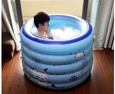 BTJC Inflable adulto plegable baño tina bañera barril bañera baño inflable bañera plástico grueso cañón cañón baño , Blue