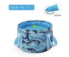 Chuan Rong Lavabo portátil Plegable Bolso Grande de Burbujas Tina de Lavado, 12L de Camuflaje Azul