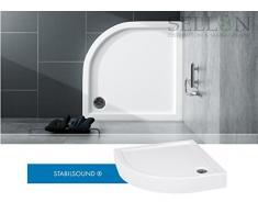 Ducha Bañera 80 x 80 x 14 R55 Plato de ducha Cuarto circular (acrílico bañera ® Soporte EPS integrado Delantal Estable Sound®