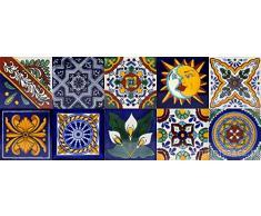 Cerames azulejos decorativos de colores de la pared Pablo | azulejos cocina ceramica, para cuarto de baño y cocina, 10cm*10cm, 30 piezas por paquete