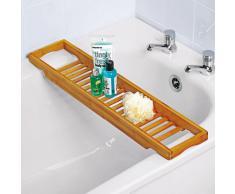 Relaxdays - Bandeja con rejillas para la bañera hecha de bambú con medidas 4 x 64 x 15 cm se puede colocar velas y copas resistente a la humedad, color marrón