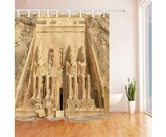 vrupi - Cortinas de Ducha egipcias para baño, Gran Templo en Egipto, Tela de poliéster, Impermeable, Incluye Ganchos de Cortina de Ducha de 180 x 180 cm