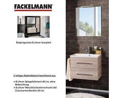 Fackelmann de muebles de baño Set B. Clever de 2 piezas 60 cm Fresno con lavabo armario Incluye fundido (mármol & espejo Element