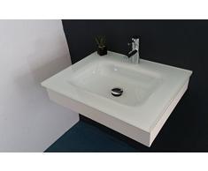 Muebles Baño Lavabo/Lavabo/Lavamano de cristal extrachiaro blanco cm 60 con soporte de madera