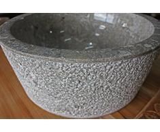Lavabo piedra redondo mármol gris